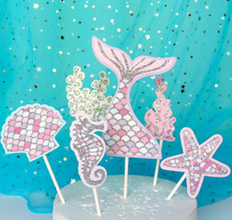 Discount mermaid baby shower - Mermaid Tail Cupcake Topper Kids Birthday Little Mermaid Party Decoration Baby Shower Under The Sea Cake Decor