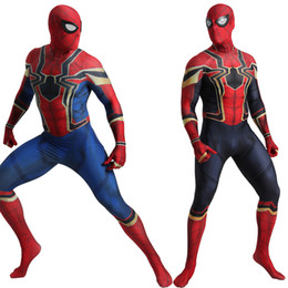 iron man suits Australia - Deluxe Adult Spiderman Costume Cosplay Men Iron Spiderman Avengers Infinity War Bodysuit Jumpsuit Suit Halloween Costume For MenMX190921