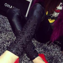 $enCountryForm.capitalKeyWord Australia - S- faux leather leggings women lace decoration legging pants black trousers thin leggins Plus size 5XL 4XL 3XL xxl Y190603