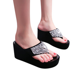 bf84b821f39c Clips For Shoes UK - Wedges Slippers Shoes Summer Women s Slippers  Rhinestone Wedges Flip Flops Fashion