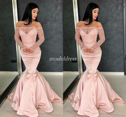 Wholesale Arabic Pink Mermaid Evening Dresses Long Sleeve Off Shoulder Bead Illusion Bodice Prom Party Gowns vestidos de fiesta Special Occasion Dress