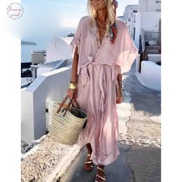 beach maxi dresses short sleeves Australia - Suede Summer Boho Style Long Dress Women Short Sleeve Loose Dress Ruffled Casual Beach Dresses Vintage Chiffon Pink Maxi Dress