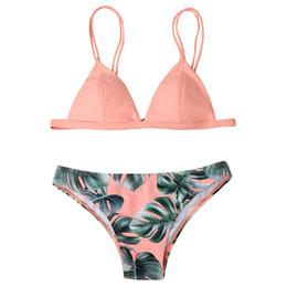 $enCountryForm.capitalKeyWord UK - Women Printed leaves colorful Swimwear Wire Free Bikini Set Lovely Print Solid Push-Up Padded Bathing Swimsuit