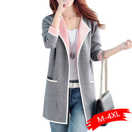 silk lapel flowers NZ - Women Winter Warm Coat 5XL Autumn Winter Jacket Women Coats 2019 Plus Size Knitted Cardigan Jackets Female Outerwear Casual Pocket Coat Jaqu