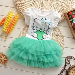 72cd0d45a good quality 2019 summer baby girls hello kitty dresses bow princess lace  dress lovely baby girl clothes Mini Tutu Dress Summer