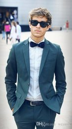 Slim Fit Green Suit Australia - Classy Hunter Green Wedding Tuxedos Slim Fit Suits For Men Cheap Two Buttons Groom Suit Two Pieces Pants And Jacket Prom Suits
