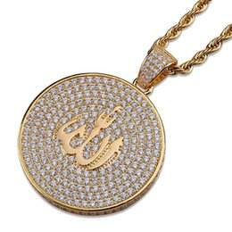 China Arab Religion Hiphop Pendant Necklaces For Men 2019 New Fashion Hip Hop Gold Plated Necklace Jewelry Luxury Cubic Zirconia Chains suppliers
