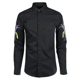 $enCountryForm.capitalKeyWord NZ - Cotton Men Shirt Luxury Flower Embroidered Long Sleeve Mens Dress Shirt Camisa Masculina Mens Shirts Casual Slim Fit