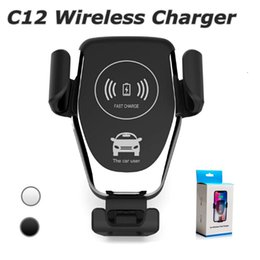 Wholesale C12 Wireless Car Charger W Fast Wireless Charger Car Mount Air Vent Gravity Phone Holder