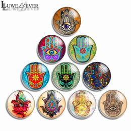 mix sale 18mm snap button Canada - 10mm 12mm 16mm 20mm 25mm 30mm 554 Hamsa Mixed Sale Round Glass Cabochon Jewelry Finding Fit 18mm Snap Button Charm Bracelet Necklace