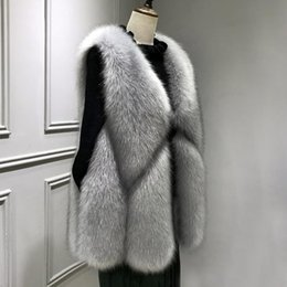 Plus Size Faux Fox Vest Australia - WISSTT New Arrival 2018 Winter Warm Fashion Women Faux Fur Vest Outerwear Womens Faux Fox Fur Coat Female Plus size S-3XL
