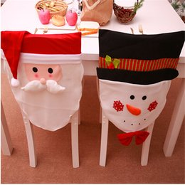 Linen chair covers online shopping - 1pc Christmas Chair Hats Santa Snowman Shape Christmas Dining Dinner Table Chair Back Cover Xmas Home Decor Navidad