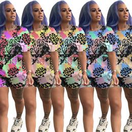 $enCountryForm.capitalKeyWord Australia - Women Plus Size Tiger Tracksuit Print Tie Dye T-shirt Sports Suit Trendy shirt Shorts 2 piece Sportswear Summer pocket Outfits LJJA2510