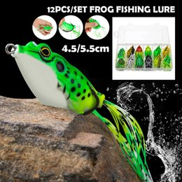 floating frog lures Australia - 12pcs box Frog Fishing Lures Kit Snakehead Lure Topwater Floating Ray Frog Artificial Bait pesca isca Killer Winter Fishing
