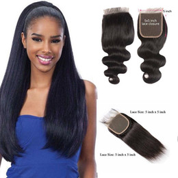 5x5 lace closure bleached knot Australia - 9A Brazilian Body Wave 5X5 Lace Closure Free Part Remy Straight Human Hair Closure Bleached Knots With Baby Hair 5x5 Top Lace Closures