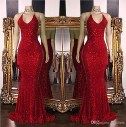 backless halter sparkle dress 2019 - 2019 New Red Sparkling Sequins Mermaid Long Prom Dresses Halter Beaded Backless Sweep Train Formal Party Evening Dresses