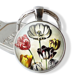 silver plants NZ - Vintage Tulip Photo Keyring, Silver Plated Keychain dome Pendant Handmade Jewelry, Plant Lovers Gift New Fashion Hanging Key Link for 2019