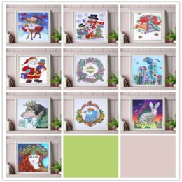 snowman paintings UK - Snowman and fawn Diamond painting Dream Cottage Diy Diamond Drawing crafts Needlework square drill diamond Mosaic pasted