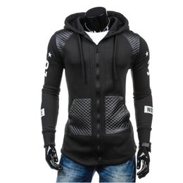 Chinese  designer hoodie New fashion mens hooded casual cardigan sweater stitching ribbon sweater mens sweater sweatshirt manufacturers