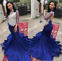 VelVet maternity dresses online shopping - Blue Black Girls Mermaid Prom Dresses Beaded Lace Velvet Sexy Prom Gowns Long Sleeve African Formal Evening Dress robe de soiree