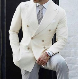 White formal suits online shopping - Designer Ivory Mens Wedding Suits One Piece Peaked Lapel Double Breasted Groom Tuxedos Formal Prom Jacket Blazers Party Business Suit Wear