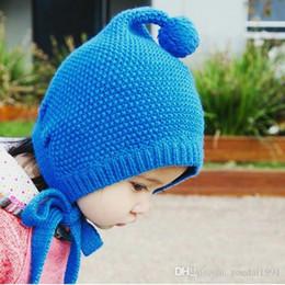 Grey Bobble Hat Australia - Unisex Child Beanies Baby Pointed Knit Bobbles Earflap Ear Hats Kid Winter Warm Add Velvet Earmuffs Caps