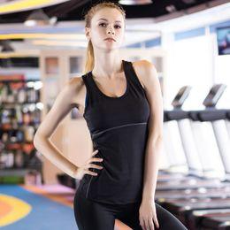 Discount tight cropped tank top - 2019 Hot Women 3 PCS Skinny Vesr Sportswear Compression Fitness Tights Gym Yoga Shirt Run Sports Suit Women Crop Tank To