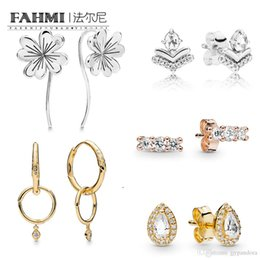 Flower Gift For Love Australia - FAHMI 100% 925 Sterling Silver Radiant Teardrops Shine Flower Stem Rose Four-Leaf Clover Crystal Fashion Charm Bead Jewelry For Women Gift