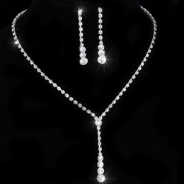 Tennis earrings online shopping - African Jewelry Set Crystal Tennis Drop Necklace Set new Rhinestone Bridal Bridesmaid Wedding Jewelry sets