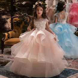 $enCountryForm.capitalKeyWord NZ - 2019 New Adorable Sweet Girl Pageant Dress Pink Lace Appliques Ruffled Zipper Up Peach Organza Tulle Ball Gown Wedding Dress Sheer Neck