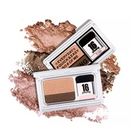 easy simple makeup Australia - Eyeshadow Palette Pearlescent Matte Gradient Two Color One Step Glitter Powder Makeup Natural Smoky Gold Easy Wear Simple Makeup Sets