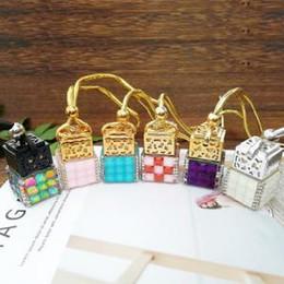 Car Decorations Diamonds Australia - 8ml Diamond perfume bottle colorful square car hanging pendant car home decoration Perfume bottle Storage DIY mini packing Bottles FFA1504