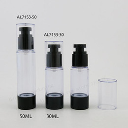 airless containers wholesale UK - 30 X 30ml 50ml Rebillable Beauty Airless Plastic Bottle with Black Pump Clear Cover 1oz Airless Cream Containers