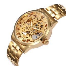 Water Proof Phones Australia - atch phone water proof Luxury Men's Gold Full Steel Transparent Watch Skeleton Automatic Mechanical watches Steampunk Clock men Relogio M...