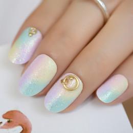 $enCountryForm.capitalKeyWord Australia - Rainbow Iridescent False Fake Nails Tips Colorful Candy Sugar Glitter 3D Punk Ring Deco Round Short Summer Wear Nail Art