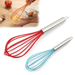 wholesale wire whisk UK - New 25cm Manual Whisk Egg Whisk Handle Silicone Quick Wire Egg Beater Mixer Hand Soap Cream Butter Cake Stirrer Cooking Utensils