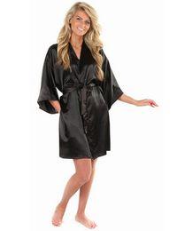 Hot silk kimono online shopping - New Black Chinese Women s Faux Silk Robe Bath Gown Hot Sale Kimono Yukata Bathrobe Solid Color Sleepwear S M L Xl Xxl Nb032