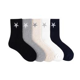 $enCountryForm.capitalKeyWord Australia - Pure color five pointed star print socks cute fun cartoon women cotton sock absorb sweat breathable casual personalized comfort
