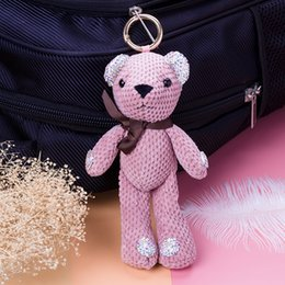 teddy bear plush key chain Canada - Designer Cute Pompom Teddy Plush Doll Keychain Small Bow Tie Bear Toy Pendant Keyring Women Bag Car Key Chain Trinket Valentine Gift