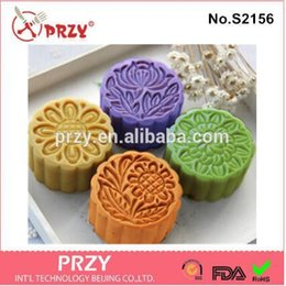 moon mold UK - 4hole Moon Cake Handmade Soap Mold Silicone Soap Mold Diy Molds Candle Fondant Cake Decorating Tools Moulds Silicone Rubber PRZY T200703