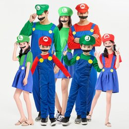 male anime halloween costumes Australia - Halloween cosplay anime costume parent-child role play clothes for children & Adult man Mario Super Mario costume