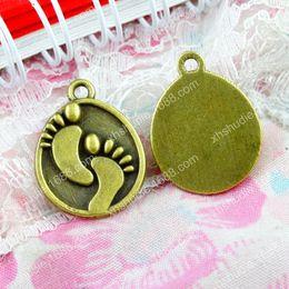 $enCountryForm.capitalKeyWord Australia - 60pcs 17*22MM Antique bronze tibetan ornament alloy baby feet charms for bracelet vintage metal pendants earring handmade DIY jewelry making
