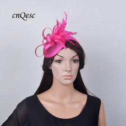 a047d08b94778 Hot pink fuchsia Small Sinamay feather fascinator bridal fascinator hat for  kentucky derby Races.