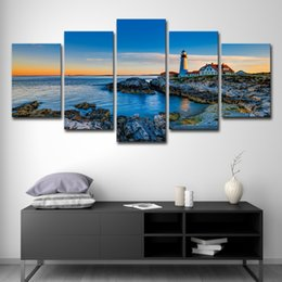 $enCountryForm.capitalKeyWord NZ - Canvas Painting Cuadros Home Decor Wall Art Pictures For Living Room Prints 5 Pieces Blue Sea And House Lighthouse Poster