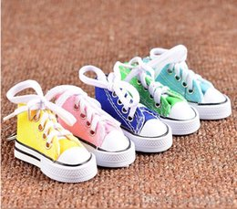 $enCountryForm.capitalKeyWord NZ - Colorful Women Shoes Key Chains for Lovers Small Canvas Shoes Car Keychain Silver Plated Shoe Keyrings Key Holder c755