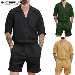 black overall long pants 2019 - Cargo Playsuits Men Rompers 2019 Fashion Men Jumpsuit Long Sleeve Cargo Harajuku Overalls Pockets Pants Solid Loose Cove