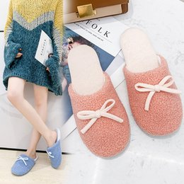 cute warm slippers NZ - Cute home couple cotton slippers female 2019 autumn new Korean version of the wild bow warm non-slip shoes