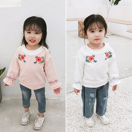 47d69f198 Spring and Autumn New Arrival korean style cotton Embroidered flowers long  sleeve T-shirt with Lace-collar for sweet baby girls