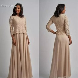 Burgundy Evening Gowns Mother Bride Australia - Elegant A-line Mother of the Bride Dresses Long Sleeve Lace Chiffon Formal Gown Floor Length Evening for Wedding