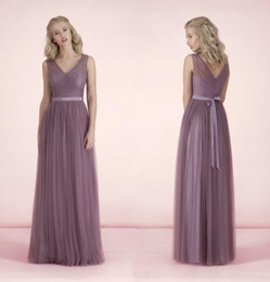wedding bridesmaid lilac dresses 2019 - Sexy Long Bridesmaid Dresses V Neck Sheer Tulle With Sashes bridesmaids Dresses Floor Length Lilac For Wedding Formal Pr